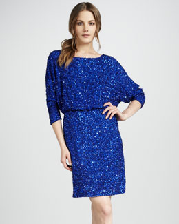 Alice + Olivia Sequined Blouson Dress