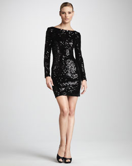 Aidan Mattox Women's Sequined Velvet Cocktail Dress, Women's