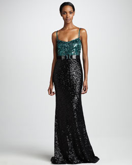 Badgley Mischka Sequined Colorblock Tank Gown