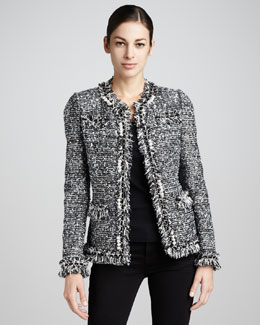Neiman Marcus Tweed Pearl-Chain-Trim Jacket