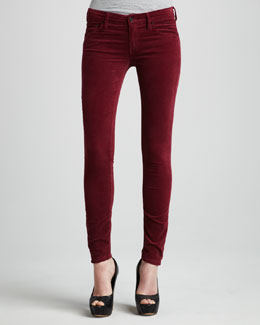 Mother Denim The Looker Sweet Wine Velvet Skinny Jeans