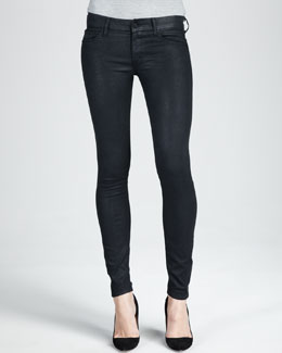 Mother Denim The Looker Black Glimmer Skinny Jeans