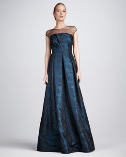 David Meister Signature Jacquard Illusion Gown