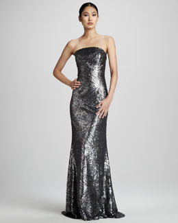 ML Monique Lhuillier Sequined Strapless Gown