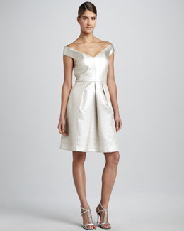Kay Unger New York Animal-Jacquard Off-Shoulder Cocktail Dress