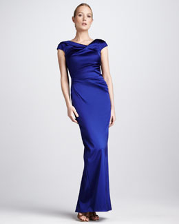 Talbot Runhof Asymmetric Ruched Cocktail Gown, Cobalt