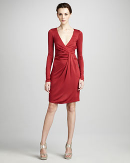 Halston Heritage Wrap-Front Jersey Dress
