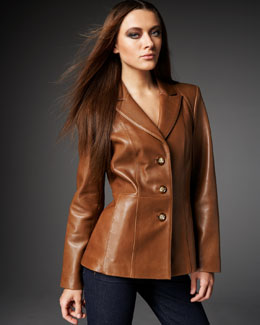 Neiman Marcus Leather Peplum Blazer