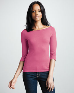 NM Luxury Essentials Knit Boat-Neck Top