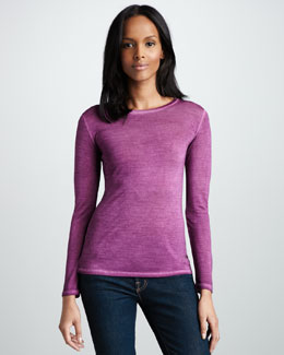 NM Luxury Essentials Long-Sleeve Silk Tee