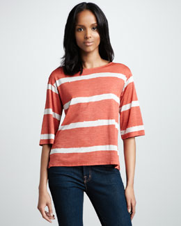 NM Luxury Essentials Striped Boat-Neck Top
