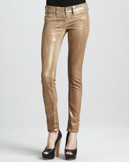 True Religion Skinny Metallic Gold Tie-Dye Jeans