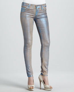 True Religion Halle Turquoise Metallic Legging Jeans