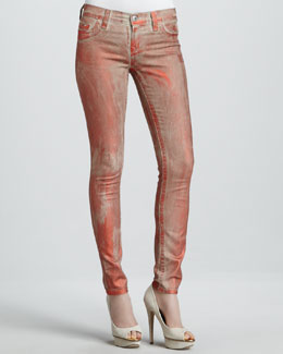 True Religion Halle Orange Metallic Legging Jeans