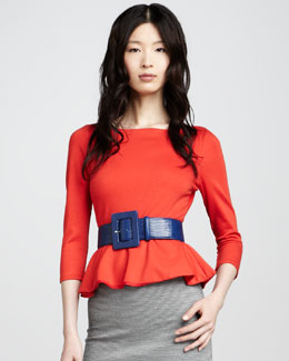 Alice + Olivia Patty Peplum Top, Poppy
