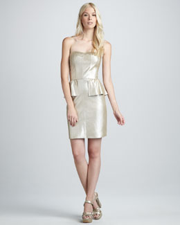 Rebecca Taylor Metallic Leather Bustier Peplum Dress