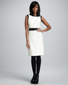 Milly Leather-Trim Knit Dress