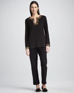 Joan Vass Slim Ankle Pants