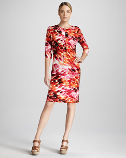Melissa Masse Zebra-Print Caftan Dress, Women's
