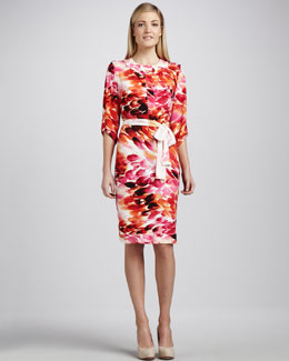 Melissa Masse Petal-Print Jersey Dress