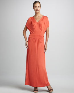 Melissa Masse V-Neck Ruched Maxi Dress