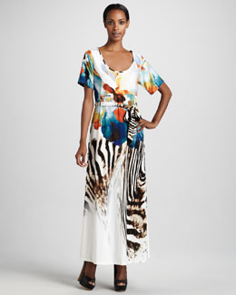 Melissa Masse Exotic-Printed Maxi Dress, Women's