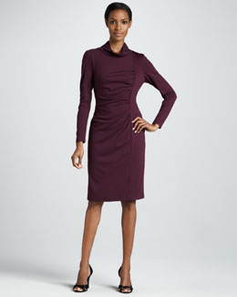 Lafayette 148 New York Ruched Mock-Neck Dress
