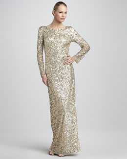 Aidan Mattox Sequined Column Gown