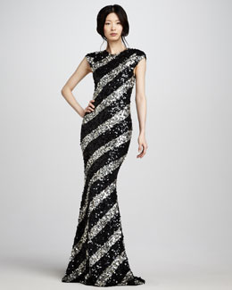 Alice + Olivia Sequin-Stripe Gown