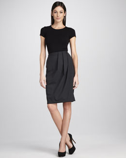 Neiman Marcus Draped Crepe Skirt