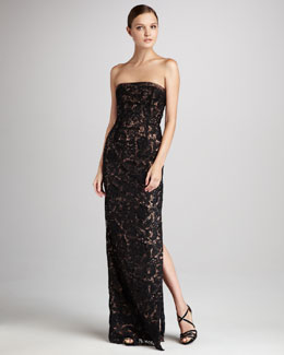 ML Monique Lhuillier Venetian Lace Strapless Gown