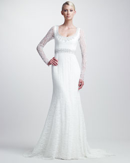 Theia Beaded Lace Gown