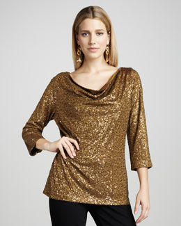 Eileen Fisher Sequined Silk Top, Women's
