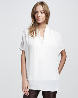 Vince Draped Silk Top, White