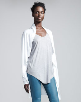 HELMUT Helmut Lang Kinetic Draped Jersey Cardigan, Optic White