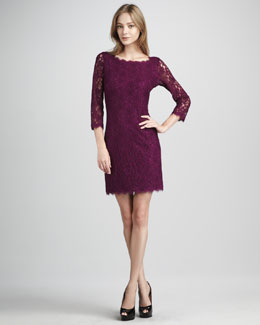 Diane von Furstenberg Zarita Lace V-Back Dress, Beet