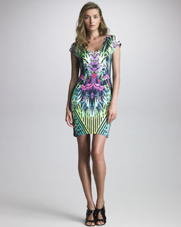 Just Cavalli Printed Scoop-Neck Dress
