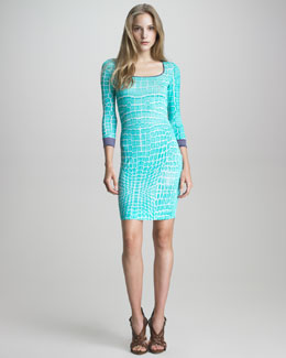 Just Cavalli Crocodile-Print Knit Sheath Dress
