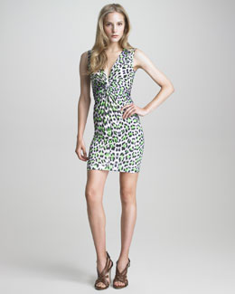 Just Cavalli Sleeveless Twist-Front Leopard-Print Dress