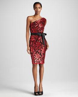 Tadashi Shoji One-Shoulder Sequined Cocktail Dress