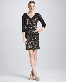 Sue Wong V Neck Dress with Three-Quarter Sleeves