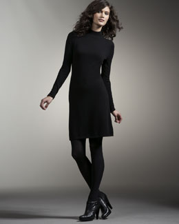 Neiman Marcus Long-Sleeve Cashmere Dress
