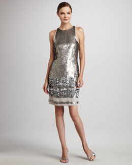 Aidan Mattox Sleeveless Sequined Cocktail Dress