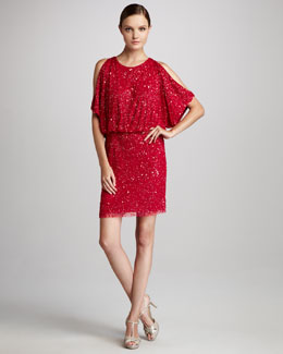 Aidan Mattox Cold-Shoulder Sequined Cocktail Dress