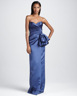 David Meister Signature Strapless Gown with Oversize Bow