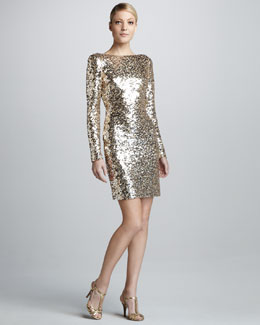 Badgley Mischka Sequined Scoop-Back Long-Sleeve Cocktail Dress