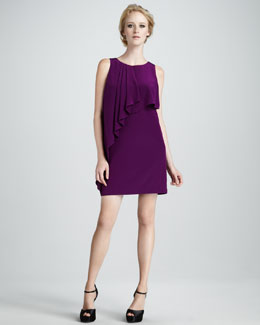 Ali Ro Ruffle-Front Silk Dress