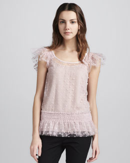 RED Valentino Flutter-Sleeve Swiss Dot Tulle Top