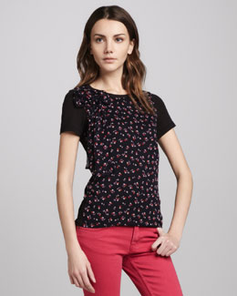 RED Valentino Cherry-Print Bow-Neck Top