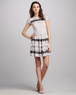 RED Valentino Ruffled Short Sleeve Dress
